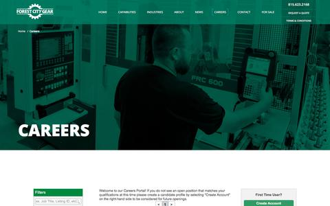 Screenshot of Jobs Page forestcitygear.com - Careers | Forest City Gear - captured Aug. 20, 2018