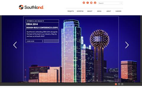 Screenshot of Home Page southlandind.com - Southland Industries - captured Oct. 7, 2014