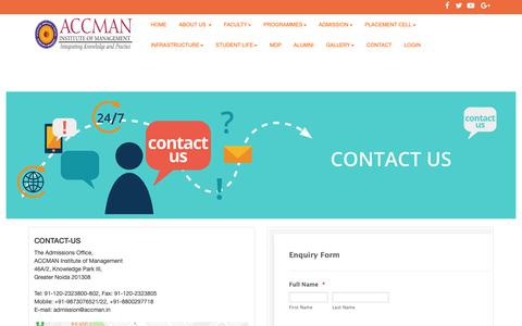 Screenshot of Contact Page accman.in - Contact Us - ACCMAN Institute of Management, PGDM, Greater Noida, Delhi NCR, B-School, North India, Top, Best - captured Nov. 12, 2018