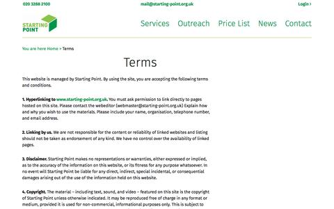 Screenshot of Terms Page starting-point.org.uk - Terms – Starting Point - captured March 25, 2016