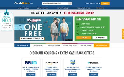 Screenshot of Home Page cashkaro.com - Discount Coupons & Extra Cashback on 500+ Sites -CashKaro - captured Nov. 23, 2015