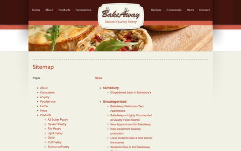 Screenshot of Site Map Page bakeaway.uk.com - Sitemap - Bakeaway - captured Dec. 29, 2015