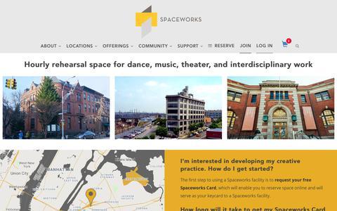 Screenshot of Locations Page spaceworksnyc.org - Rehearsal Spaces | Spaceworks NYC - captured Nov. 7, 2018