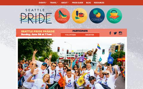 Screenshot of Home Page seattlepride.org - Seattle Pride   A Lifetime of Pride - captured Oct. 1, 2015