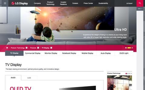 Screenshot of Products Page lgdisplay.com - TV Display - Products - Product / Technology | LG Display - captured July 9, 2016