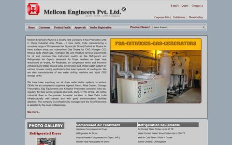 Screenshot of Home Page mellcon.com - Air Dryers Water Chillers Gas Dryer Compressed Dry Air Plant - captured Sept. 25, 2014