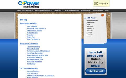 Screenshot of Site Map Page epower.com - Site Map - E-Power Marketing® - captured Jan. 23, 2016