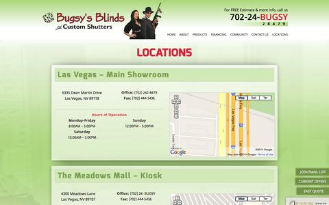 Screenshot of Locations Page bugsysblinds.com - Locations - Bugsy's Blinds and Custom Shutters - Las Vegas - captured Oct. 5, 2014