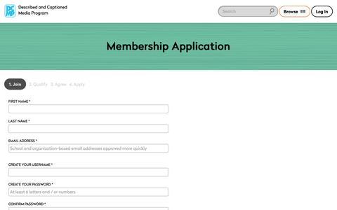 Screenshot of Signup Page dcmp.org - Membership Application - captured Sept. 29, 2018