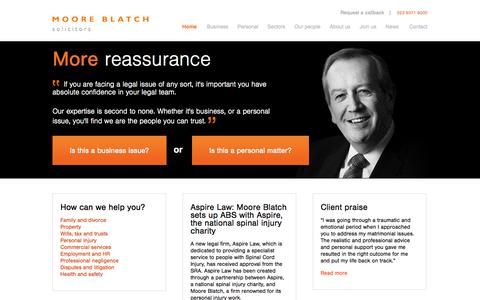 Screenshot of Home Page mooreblatch.com - Solicitors with offices in London & Southampton | Moore Blatch - captured Oct. 6, 2014