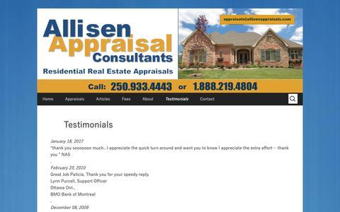 Screenshot of Testimonials Page allisenappraisals.com - Testimonials | Allisen Appraisal Consultants - captured Oct. 3, 2018
