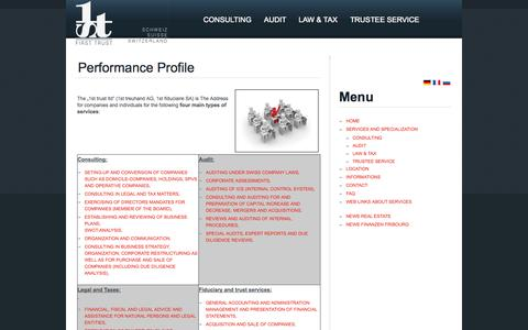 Screenshot of Services Page first-trust.ch - Performance Profile - captured Oct. 7, 2014