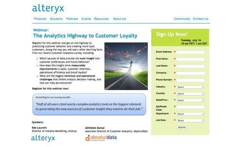 Screenshot of Landing Page alteryx.com - Webinar: The Analytics Highway to Customer Loyalty - captured Feb. 22, 2016