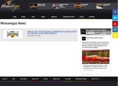 Screenshot of Press Page winnavegas.com - Winnavegas News and Events   Winnavegas Casino Resort   Sloan, Iowa - captured Dec. 22, 2016