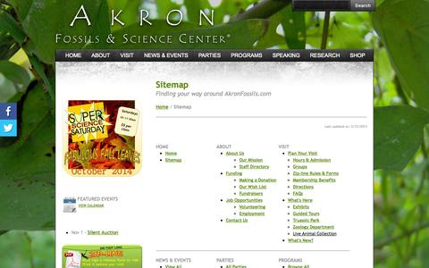 Screenshot of Site Map Page akronfossils.com - Sitemap - Akron Fossils & Science Center - captured Oct. 4, 2014