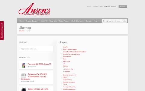Screenshot of Site Map Page ansons.ph - Sitemap | Anson's - captured Oct. 31, 2014