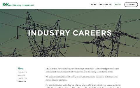 Screenshot of Jobs Page kkelectrical.com.au - Careers — K&K Electrical - Industrial Electrical Specialists | Western Australia - captured Nov. 12, 2016