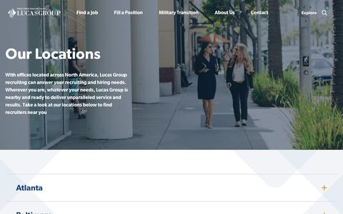 Screenshot of Locations Page lucasgroup.com - Find Recruiters & Headhunters Near You | Lucas Group Locations - captured Feb. 2, 2020