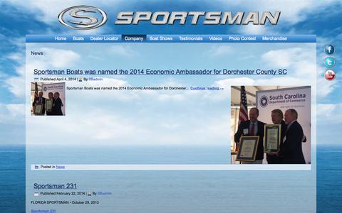 Screenshot of Press Page sportsmanboatsmfg.com - News   Sportsman Boats - captured Nov. 2, 2014