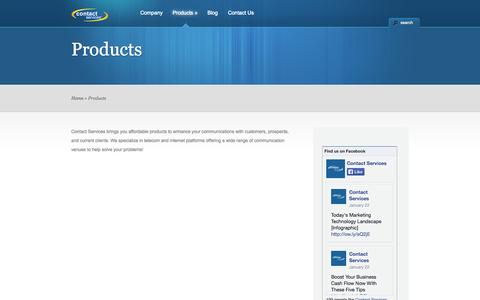 Screenshot of Products Page contactservicesteam.com - Products | Contact Services, L.L.C. - captured Oct. 2, 2014
