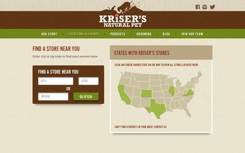 Screenshot of Locations Page krisers.com - Locations | Natural Pet Supplies & Grooming | Kriser's - captured March 15, 2017