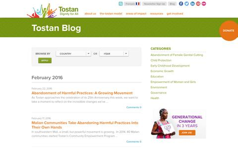 Screenshot of Blog tostan.org - Blog | Tostan - captured Feb. 23, 2016