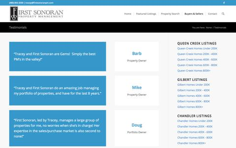 Screenshot of Testimonials Page firstsonoranpm.com - Testimonials – First Sonoran Property Management - captured Oct. 13, 2017