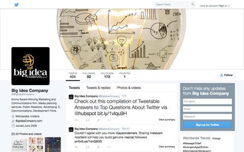 Screenshot of Twitter Page twitter.com - Big Idea Company (@BigIdeaCompany)   Twitter - captured Oct. 23, 2014