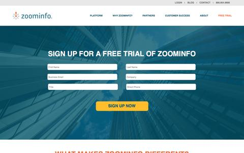 Screenshot of FAQ Page zoominfo.com - ZoomInfo Free Trial - captured Nov. 14, 2016