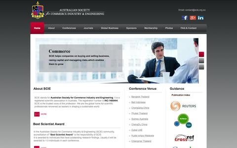 Screenshot of Home Page scie.org.au - Australian Society For Commerce Industry & Engineering - captured Oct. 5, 2014