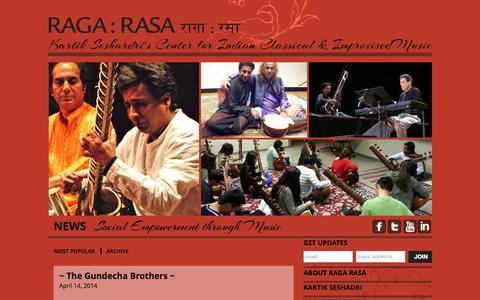 Screenshot of Home Page ragarasa.org - Raga Rasa - captured Oct. 14, 2015