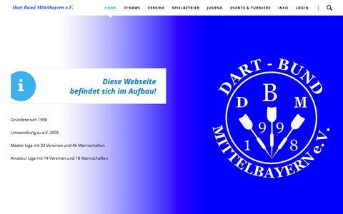 Screenshot of Home Page dbm-ev.de - Home - Dart Bund Mittelbayern e.V. - captured June 6, 2016