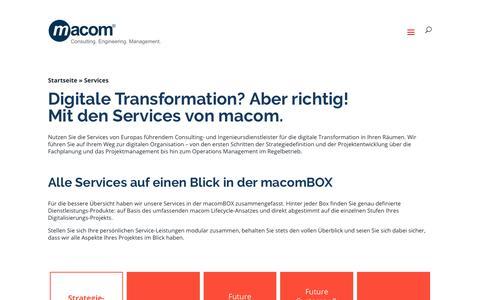 Screenshot of Services Page macom.de - macom Services für Digitalisierungsprojekte und die AV/IT-Organisation - captured Oct. 19, 2018