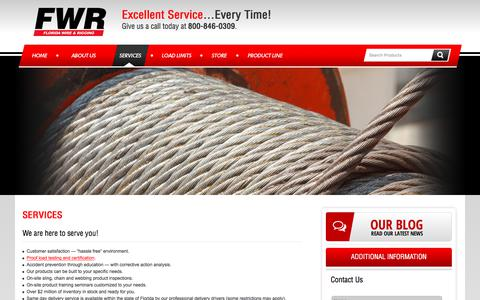 Screenshot of Services Page floridawire.com - Florida Rigging Safety Training | Sling Inspections | Custom Rigging Equipment - captured Oct. 14, 2017