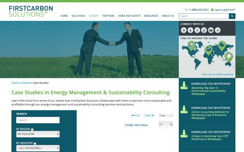 Screenshot of Case Studies Page firstcarbonsolutions.com - Energy Management, Sustainability Consulting - case studies, firstcarbon solutions, energy management, sustainability consulting, carbon management, sustainability consulting for businesses, environmental consulting solutions, energy management servi - captured Sept. 25, 2018