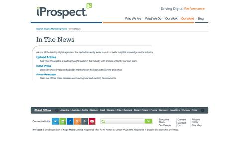 Screenshot of Press Page iprospect.com - In The News | iProspect | Driving Digital Performance - captured Sept. 24, 2014