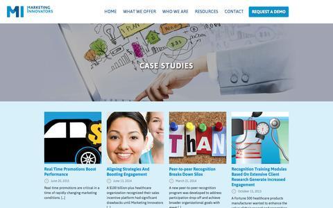 Screenshot of Case Studies Page marketinginnovators.com - MI Case Studies - captured Nov. 27, 2016