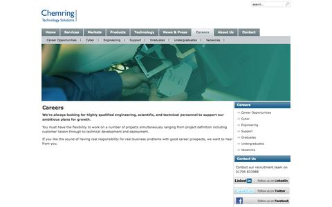 Screenshot of Jobs Page roke.co.uk - Careers - A Refreshingly Different and Dynamic Working Environment - Chemring Technology Solutions - captured Oct. 8, 2014