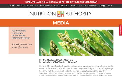 Screenshot of Press Page nutritionauthority.com - Get nutrition print artcles, radio & television interviews | Nutrition Authority - captured Oct. 18, 2018