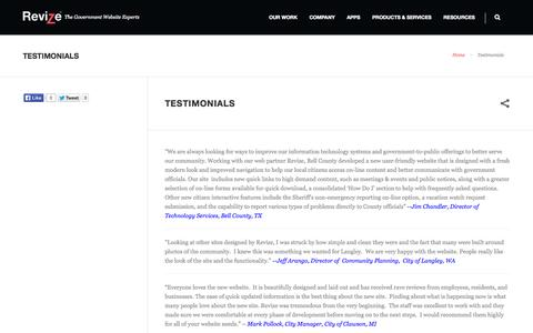 Screenshot of Testimonials Page revize.com - Client References, Web Content Management System, CMS Consulting Company, USA, Service, Product - captured Oct. 9, 2014