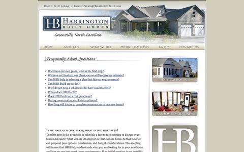 Screenshot of FAQ Page harringtonbuilt.com - Harrington Built Homes Greenville, NC - captured Oct. 2, 2014