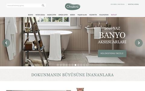 Screenshot of Home Page chakra.com.tr - Chakra Ev Tekstil Ürünleri - captured July 12, 2016