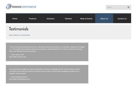 Screenshot of Testimonials Page innovocommerce.com - Testimonials     Innovo Commerce - captured Oct. 6, 2014