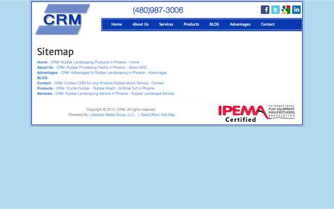 Screenshot of Site Map Page nrcco.com - CRM: Playground rubber Mulch in Phoenix - Site Map - captured Oct. 7, 2014