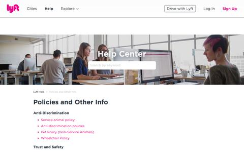 Screenshot of Support Page lyft.com - Policies and Other Info – Lyft Help - captured March 15, 2018