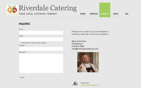 Screenshot of Privacy Page Contact Page riverdalecatering.com - Contact- Riverdale Catering Toronto - captured June 15, 2017