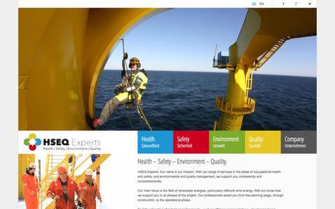 Screenshot of Home Page hseq-experts.com - Start - HSEQ - captured Oct. 1, 2014