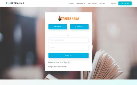 Screenshot of Signup Page Login Page careeranna.com - Signup | India's Largest Learning Platform - captured July 16, 2018