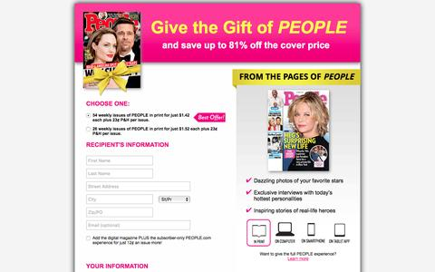 Screenshot of Landing Page people.com - Give the Gift of PEOPLE - captured Oct. 5, 2016