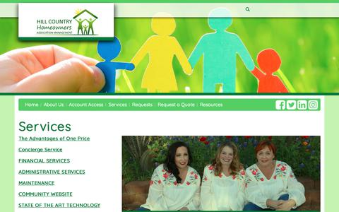 Screenshot of Services Page hillcountryhomeowners.com - Hill Country Homeowners - captured Sept. 28, 2018